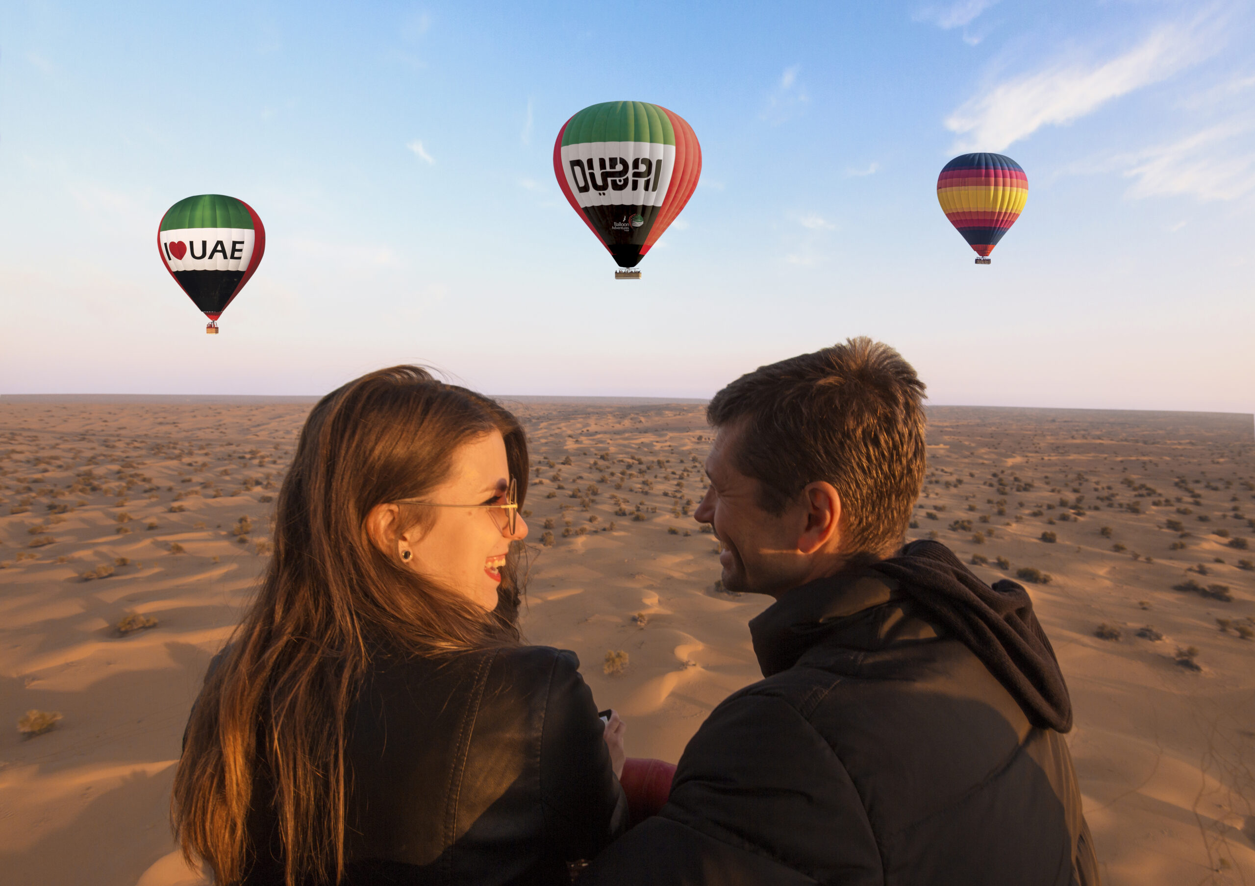 Couple in a hot air balloon